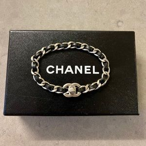 Chanel CC Silver and Leather Chain Bracelet